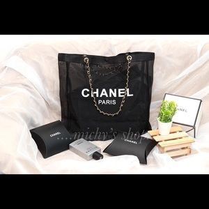 Chanel Leather Chain mesh tote bag VIP gift